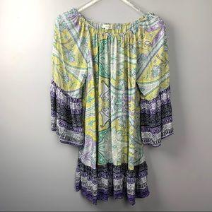 Umgee Paisley Boho Paisley Belk Sleeve Tunic Dress